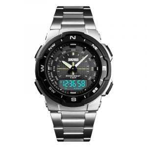 SKMEI 1370 Stainless Steel Business Style Dual Digital Watch
