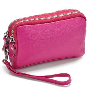 Women Men Genuine Leather Double Zipper Wallet Clutches Card Holder Phone Bags Coin Bags