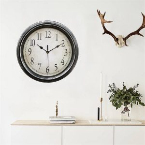 12.5'' Quartz Decorative Round Classic Retro Clock Vintage Non Ticking Home Wall Clock