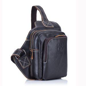 Bullcaptain® Herr äkta läderväskor Business Casual Outdoor Chest Crossbody Bag för Ipad Mini