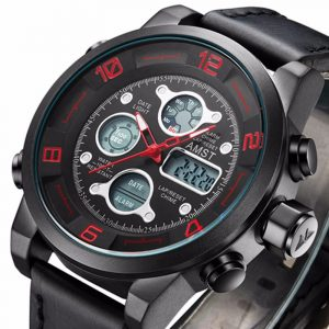 AMST AM3020 Waterproof Date Week Chime Alarm LED Men Student Military Outdoor Hiking Watch