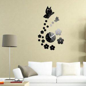 Honana DX-X7 Creative Butterfly 3D akryl spegel vägg klistermärke kvarts klockor titta på stora heminredning
