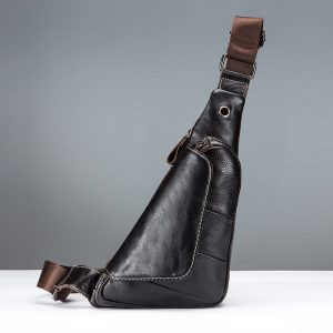 Ekphero Men Genuine Leather Crossbody Bag Chest Bag