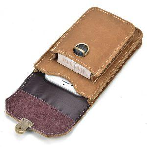 Men Genuine Leather Waist Phone Pouch  Fanny Pack Belt Bag Sport Running Bag