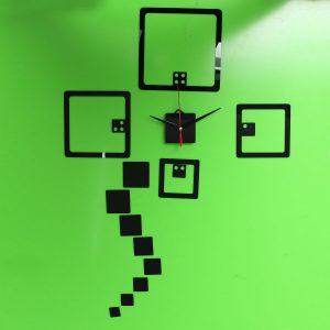 2 färger DIY Väggdekor Klocka Väggklistermärken Titta på akryl tärningar Väggklistermärke Hem väggdekor
