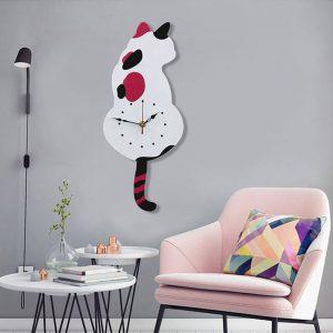 Surrande svans kattdesign väggklocka barn sovrum väggdekoration unik present kreativ tecknad tysta DIY klocka