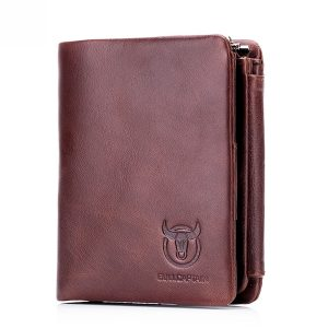 Bullcaptain Genuine Leather Multifunction Zipper Wallet