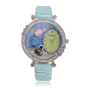 Söt godisfärg läder Crystal pärlor Cartoon harts kvarts armbandsur
