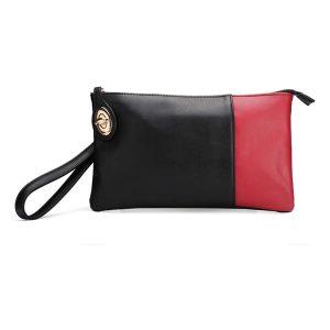 Vintage Women PU Leather Color Block Clutch Bag Handbag
