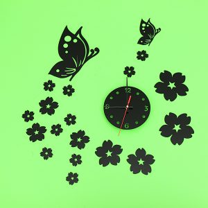 3D Mirror Wall Clock Home Decoration Butterfly Plum Clock