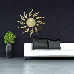 3D DIY Sunflower Shape Mirror Wall Clock Livingroom Wall Stickers Kontorsdekor Dekor