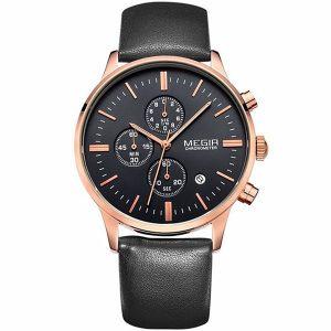 MEGIR 2011 Men Casual Business Chronograph Calendar Leather Quartz Watch