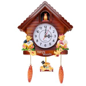 Antik trägökväggklocka Bird Time Bell Swing Alarm Watch Wall Home Decor