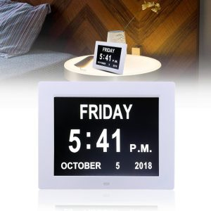8 Inch LED Dementia Digital Calendar Day Clock Extra Large Screen Alarm Clock