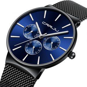 CRRJU 2155 Män Sapphire Blue Steel Quartz Watch