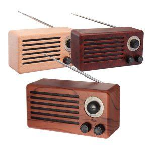 10W Retro FM-radio bluetoothhögtalare Trådlös stereo bas handsfree utomhus med mikrofonstöd USB FM Micro SD AUX