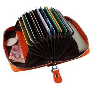 Äkta läder dragkedja 19 korthållare kvinnor bärbara kortväska myntväskor