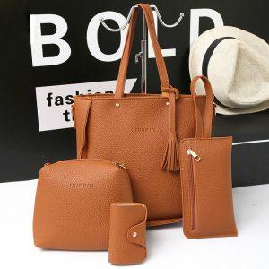 4 st handväskor tofs axelväskor eleganta kopplingar väskor plånbok korthållare