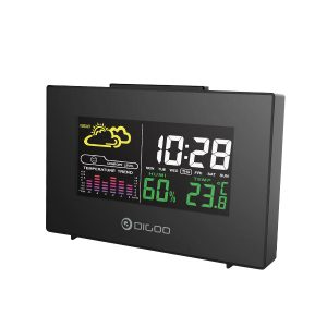 Digoo DG-C3 Trådlös färg Bakgrundsbelyst USB Hygrometer Termometer Väderprognosstation Väckarklocka