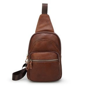 Genuine Leather Crossbody Bag Vintage Chest Bag Casual For Men