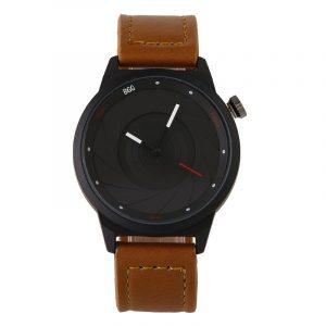 Creative Men Leather Aperture Pattern Dial Quartz Watch