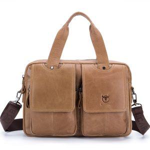 Bullcaptain® Män Retro Läder Messenger Bag Crossbody Axelväska Laptop Portfölj med axelrem