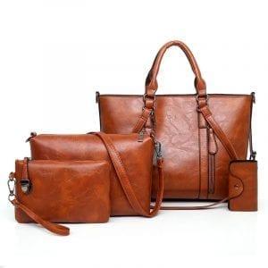 4 st kvinnors casual minimalistisk handväska axelväska
