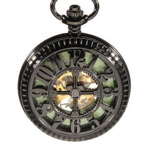 DEFFRUN Vintage Skeleton Mechanical Luminous Pocket Watch