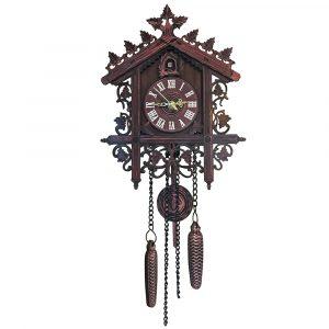 Gökväggklocka Hängande hantverk Väggklocka Dekoration Konst Vintage Fågel Gung Trä Gökur