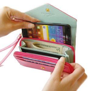 Crown Zipper Kort plånbok Läder Clutches Väskor Korthållare Myntväskor Telefonväska För Iphone Samsung