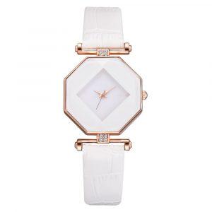 Mode diamantspegel läder kvinnor kvarts klocka