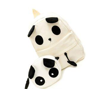 Canvas Cute Panda Pattern School Bag Handväska Ryggsäck