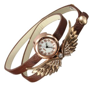 Vintage Women Angel Wings Long Wrap Strap Armband Watch