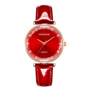 Deffrun Crystal Casual Style Leather Strap Women Wrist Watch