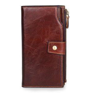 Äkta läder affärs plånbok 20 kortslutning kort hållare telefonväska för män