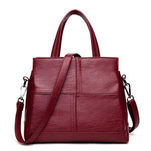 3 huvudfickor kvinnor casual PU läder handväska