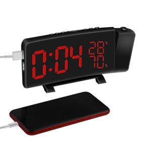 Projektionsklocka Tre-färgs FM-radio Väckarklocka LED-temperatur Luftfuktighet Skrivbord Bordsklockor Heminredning