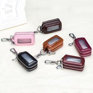 Genuine Leather Car Key Case for Men Women