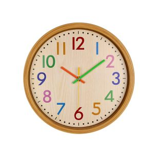 Loskii HC-40 Decorative Accurate Time Wood Grain Colorful Silent Quartz Hanging Wall Clock
