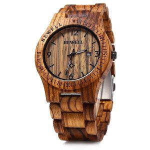 BEWELL ZS-W086B Men Natural Wooden Watch