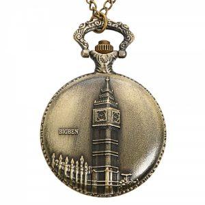 DEFFRUN Vintage Big Ben Pattern Bronze Quartz Pocket Watch