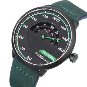 TOMORO Men's Unique Automotive-inspired Design Cow Leather Strap Fashion Sports Male Quartz Watch