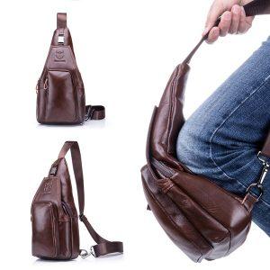 Bullcaptain Wallet Men Leather Chest Bag Vintage Travel Bag