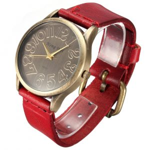Fashion Retro Round Dial Leather Band Quartz Wrist Watch 4 Colors