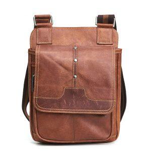 Äkta läderbrun Vintage Messenger-väska
