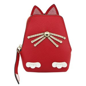 Kvinnor PU-läder Söt kattmyntväska Kitty Purse Animal Shape Plånbok