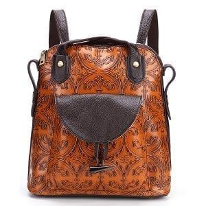 Brenice Kvinnor Multi-function präglad axelväska ryggsäck