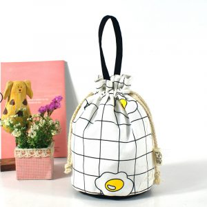 Brenice Women Canvas Cartoon Creative Bucket Bag String Bags Cosmetic Storage Bag