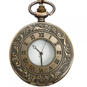 DEFFRUN Vintage Bronze Antique Roman Numbers Quartz Pocket Watch
