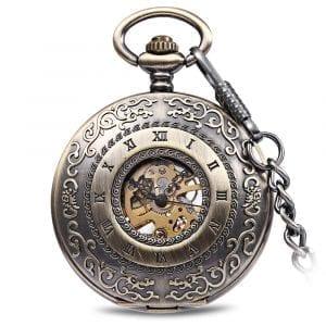 JIJIA JX009 Carved Flowe  Hollow Mechanical Pocket Watch